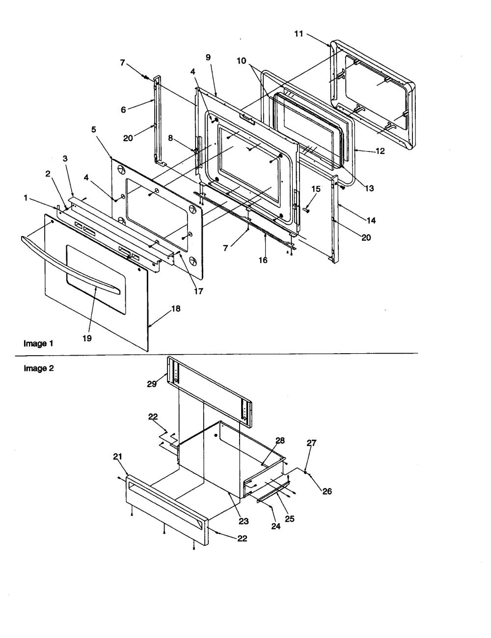 medium resolution of artc7511ww electric range oven door and storage drawer parts diagram