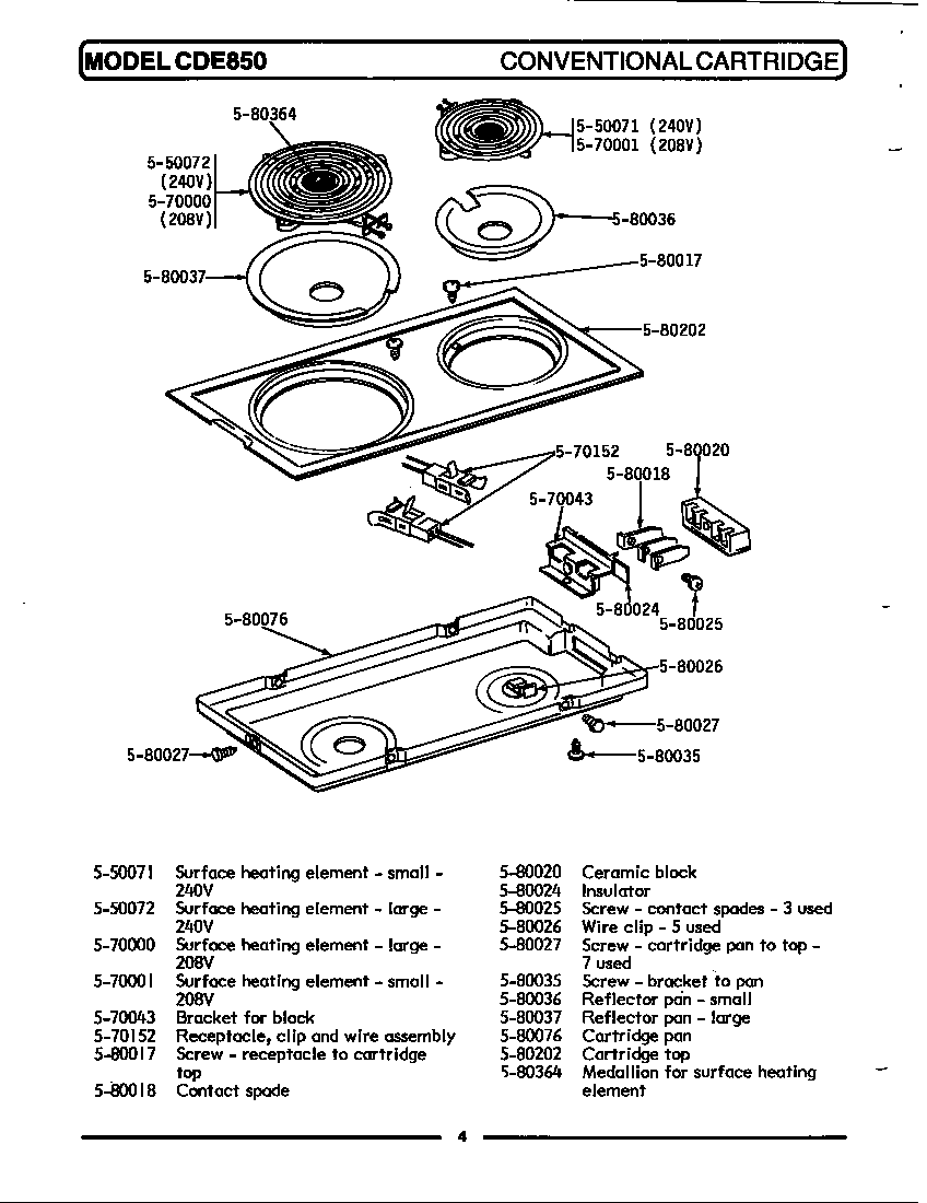 hight resolution of cde850 range conventional cartridge parts diagram