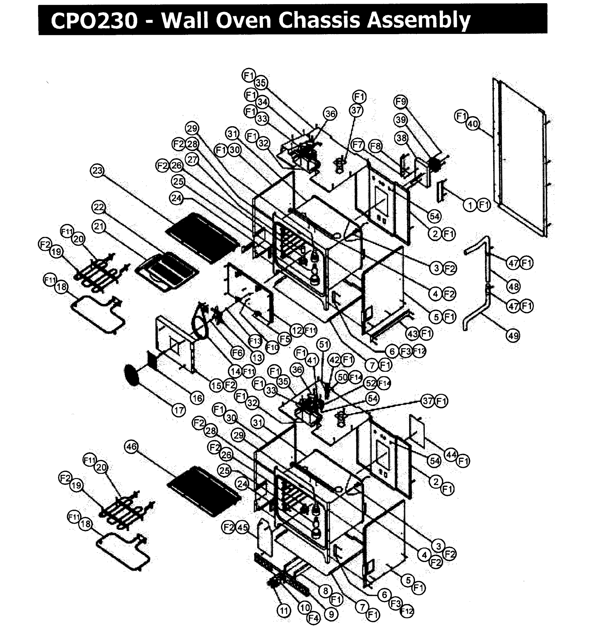 hight resolution of cpo230 wall oven chassis assy parts diagram