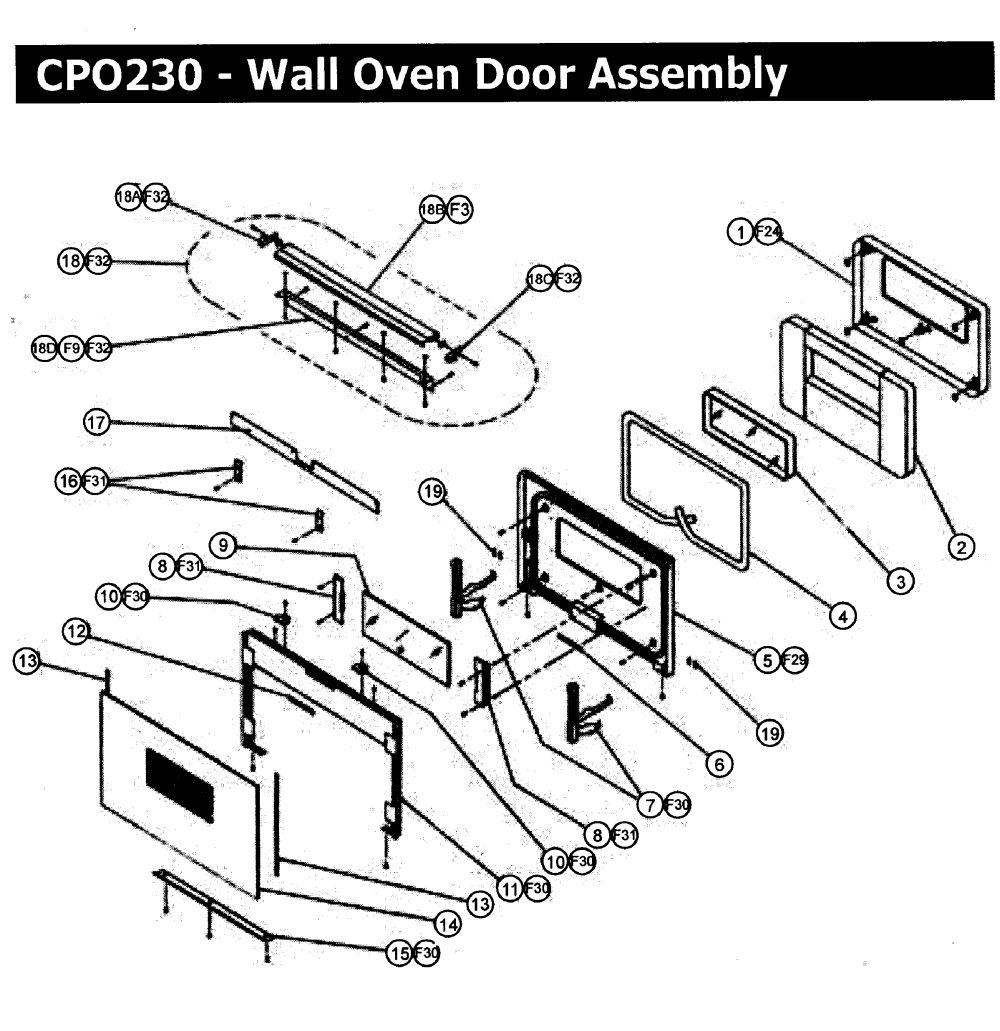 medium resolution of cpo230 wall oven door assy parts diagram