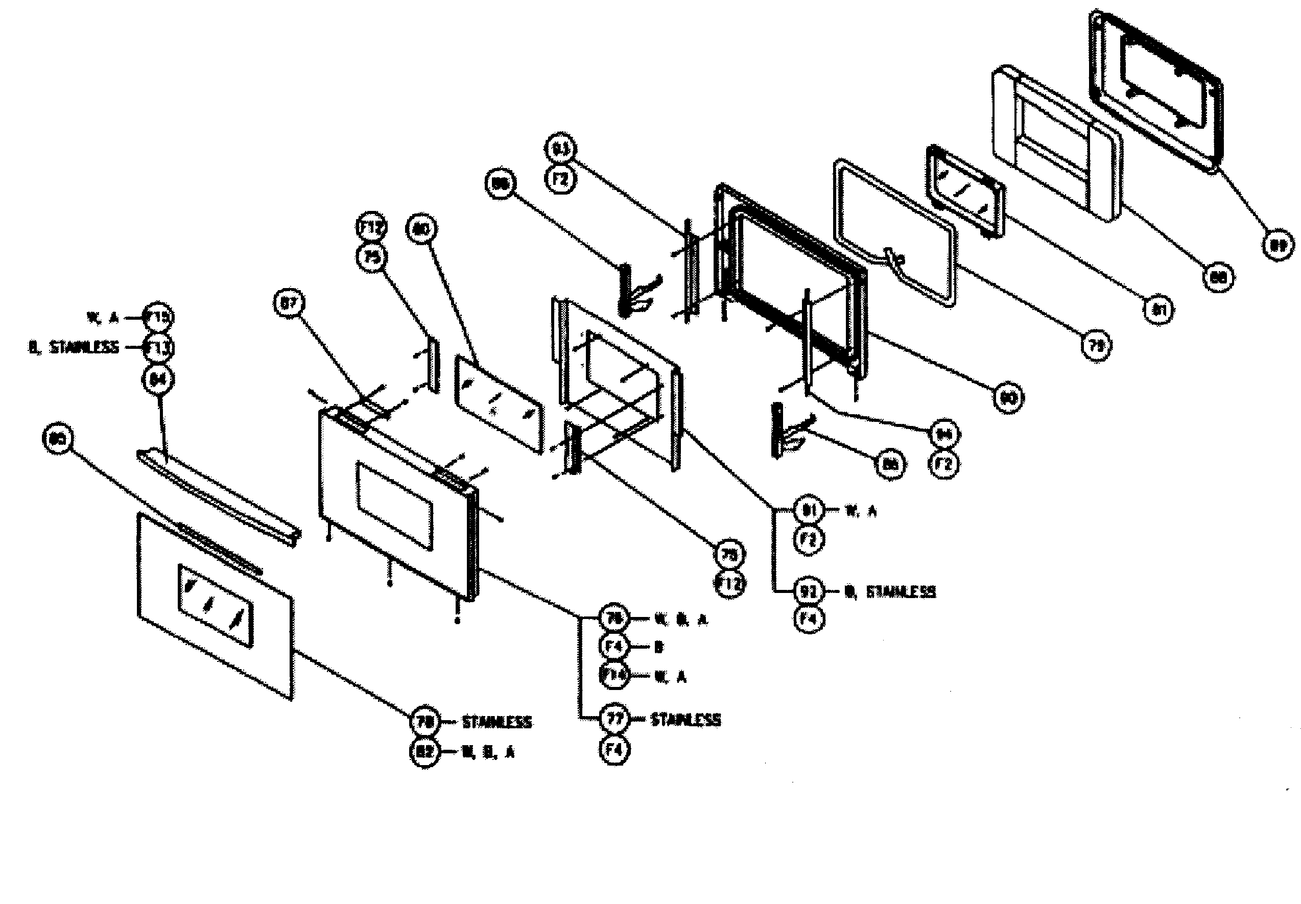 Cps230 oven door assy parts diagram