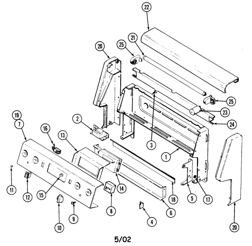 small resolution of cre9500adw range control panel parts diagram