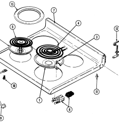 cre9500adw range top assembly parts diagram maytag cre9500adw timer stove  [ 2098 x 1795 Pixel ]