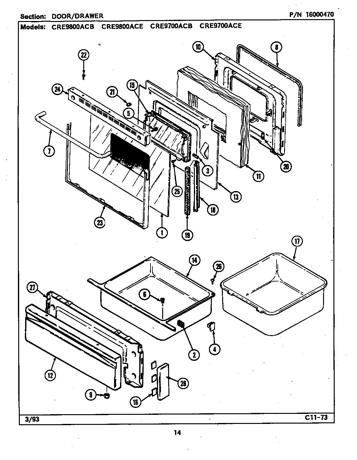 hight resolution of cre9800ace range door drawer parts diagram