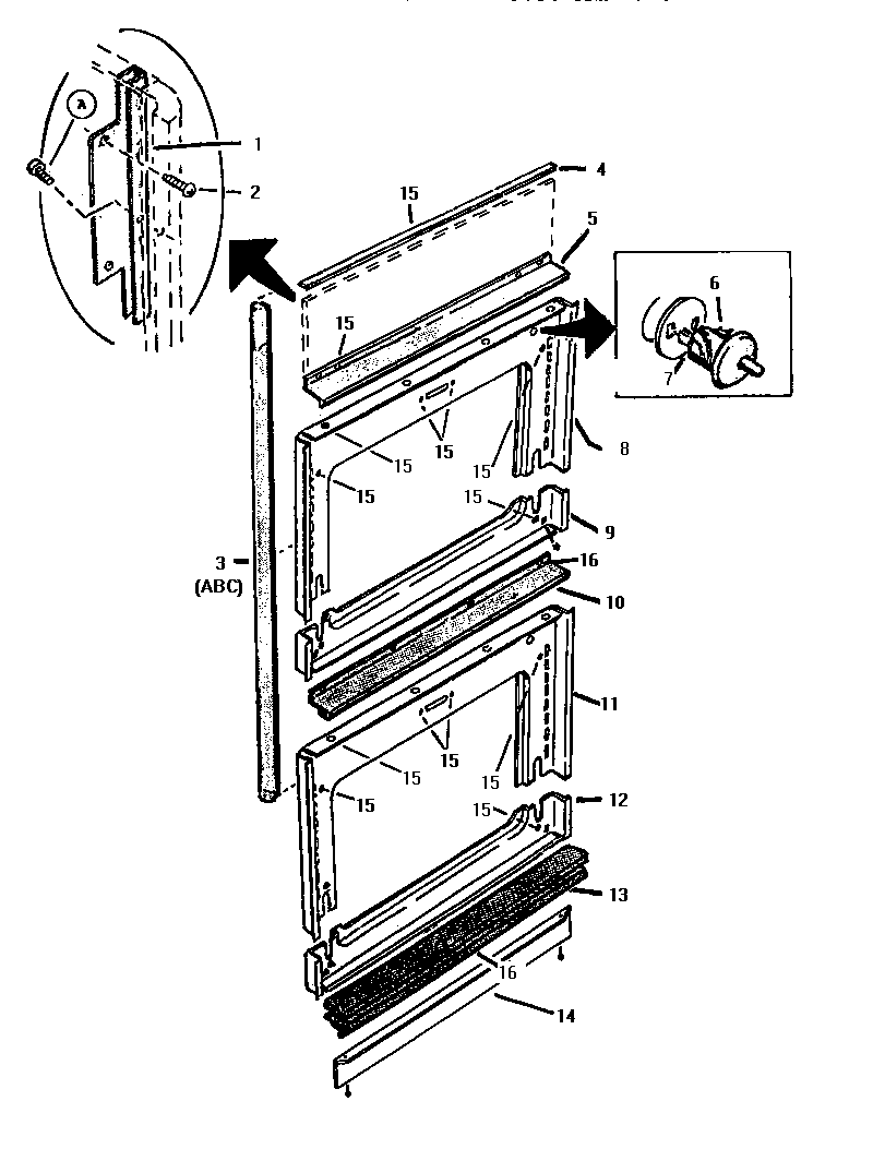 hight resolution of ct227n electric wall oven front frame parts diagram