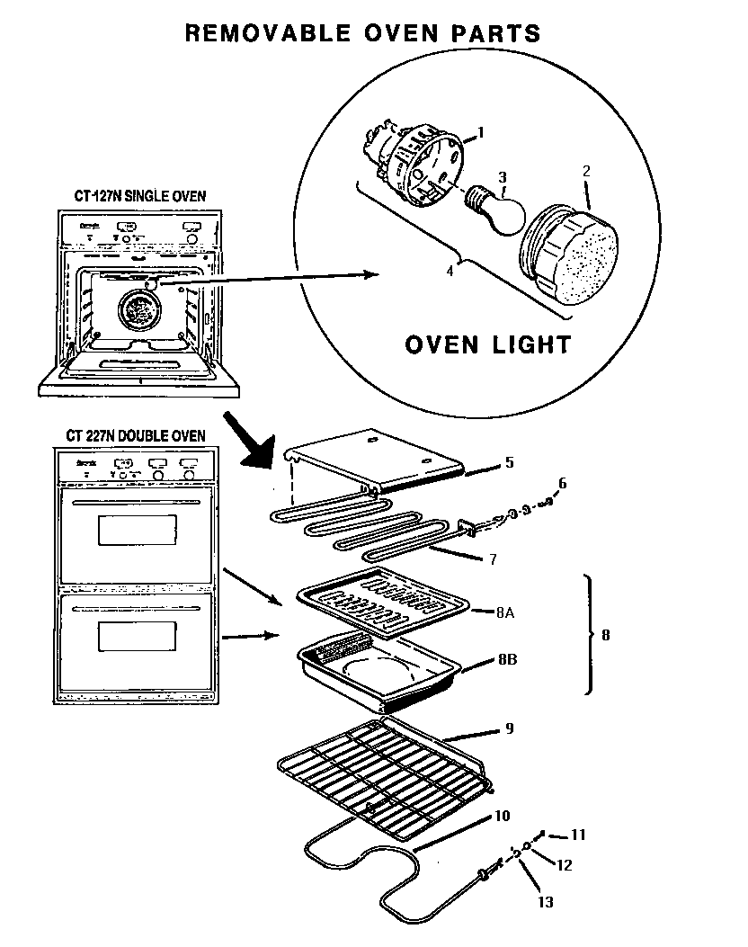 medium resolution of ct227n electric wall oven removable oven parts diagram