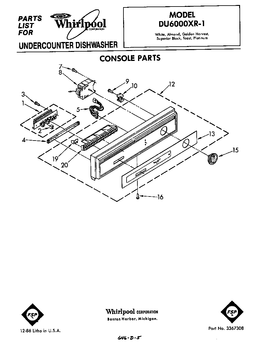 hight resolution of du6000xr1 dishwasher console parts diagram