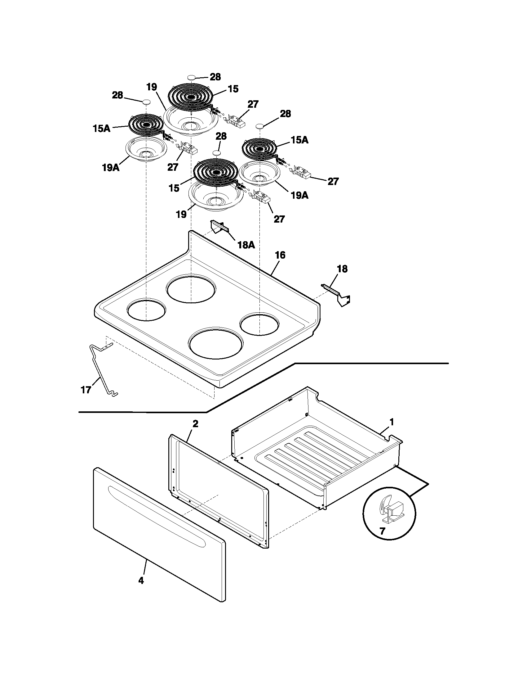 hight resolution of fef352aug electric range top drawer parts diagram
