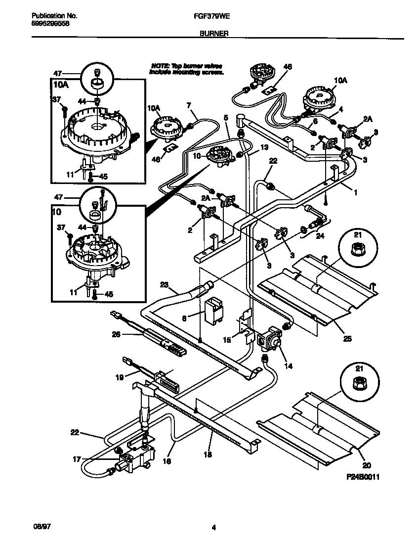 hight resolution of fgf379wecf gas range burner parts diagram