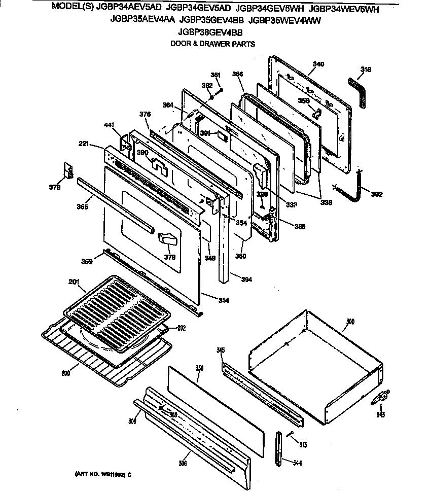 hight resolution of jgbp35wev4ww gas range door drawer parts diagram
