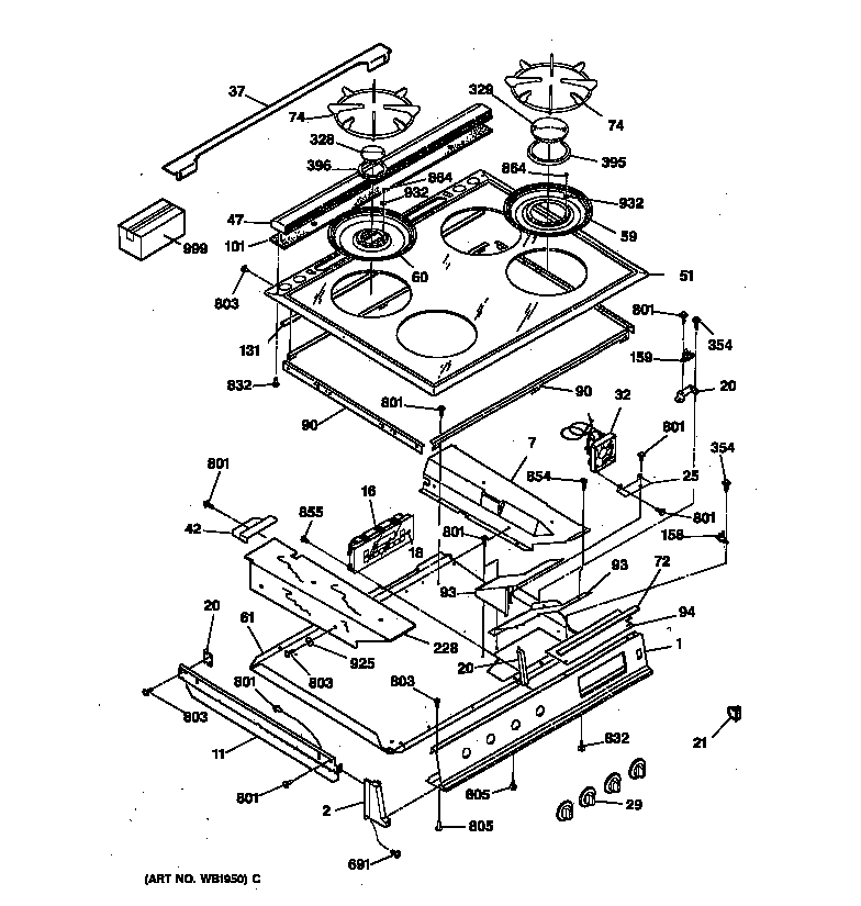 wiring diagram for electric cooktop
