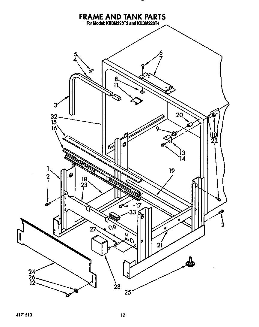 medium resolution of kudm220t4 dishwasher frame and tank parts diagram