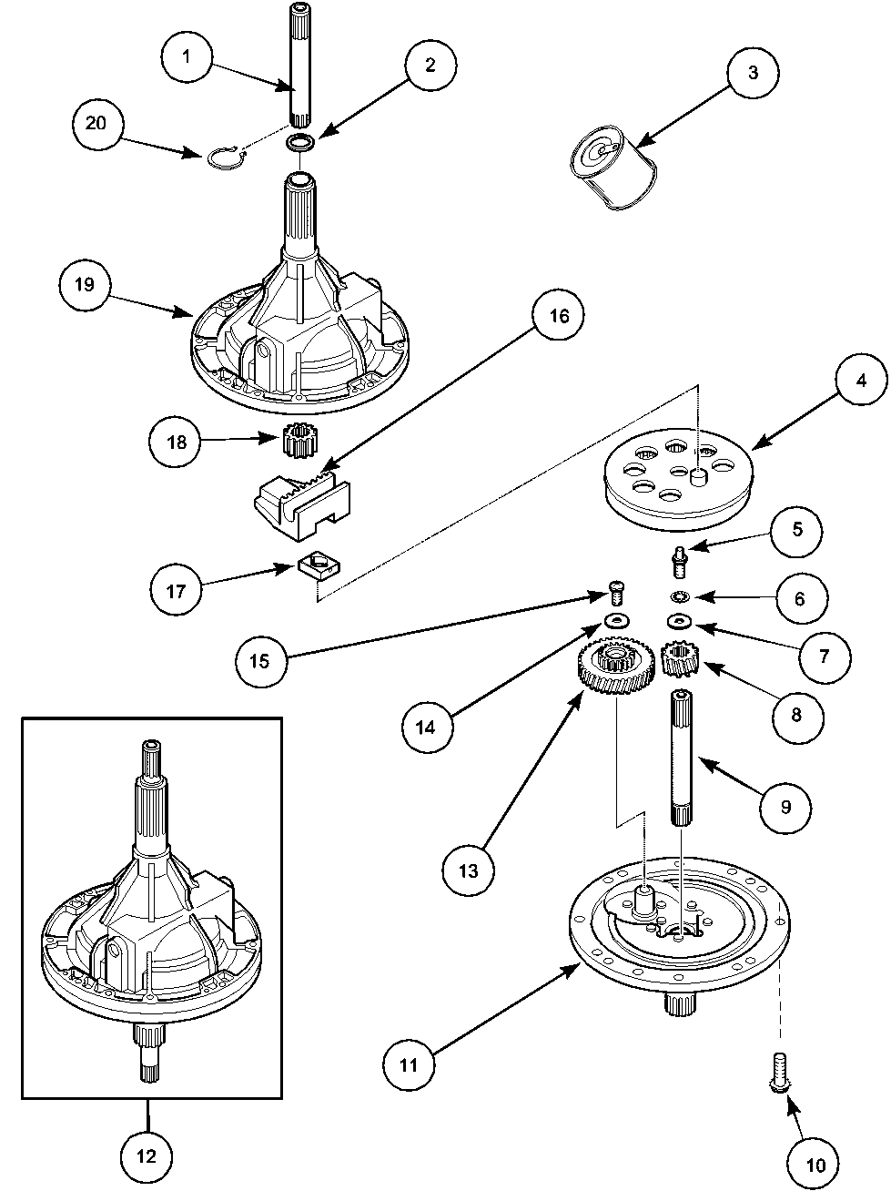 medium resolution of lwa40aw2 top loading washer transmission assembly parts diagram