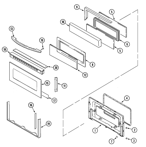 small resolution of mer6772baw range door upper bab baq baw parts diagram