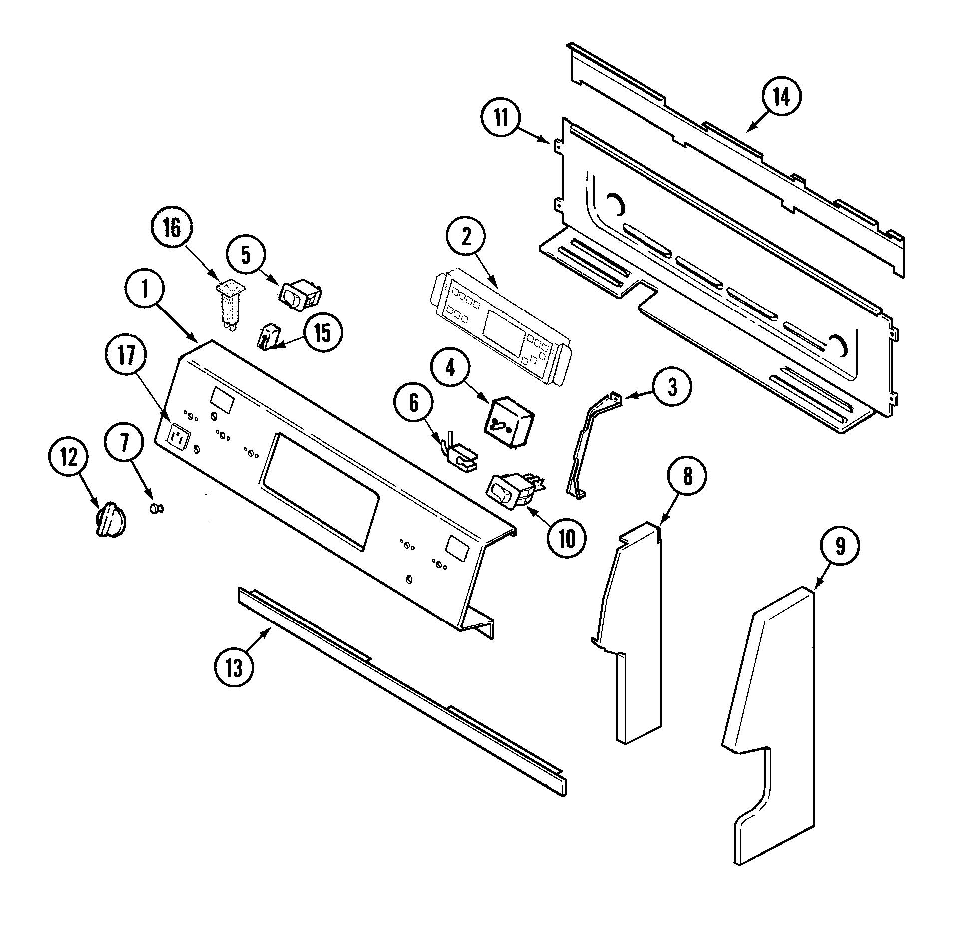 hight resolution of mer6772bcb range control panel parts diagram