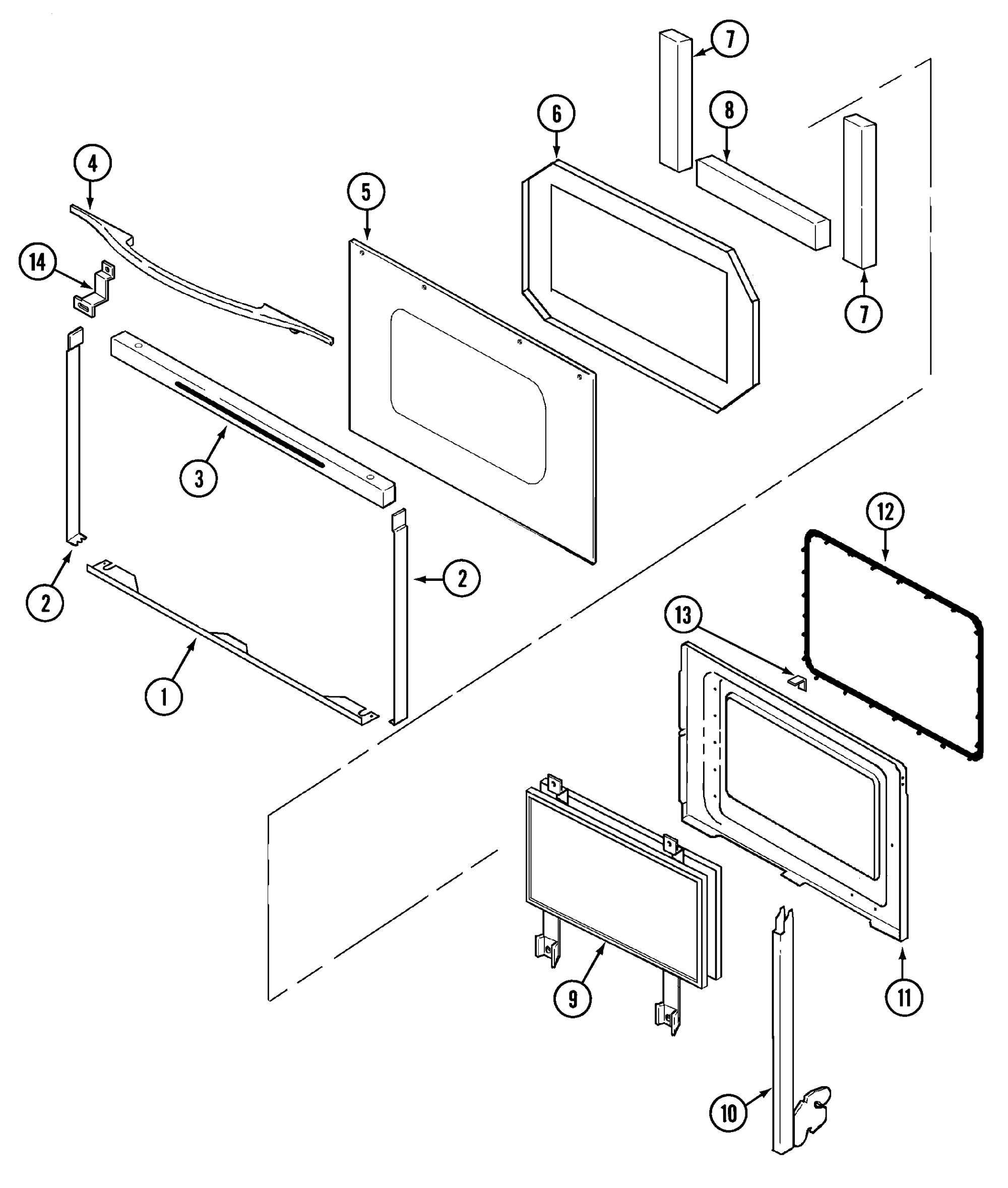 hight resolution of sce30600b electric slide in range door parts diagram