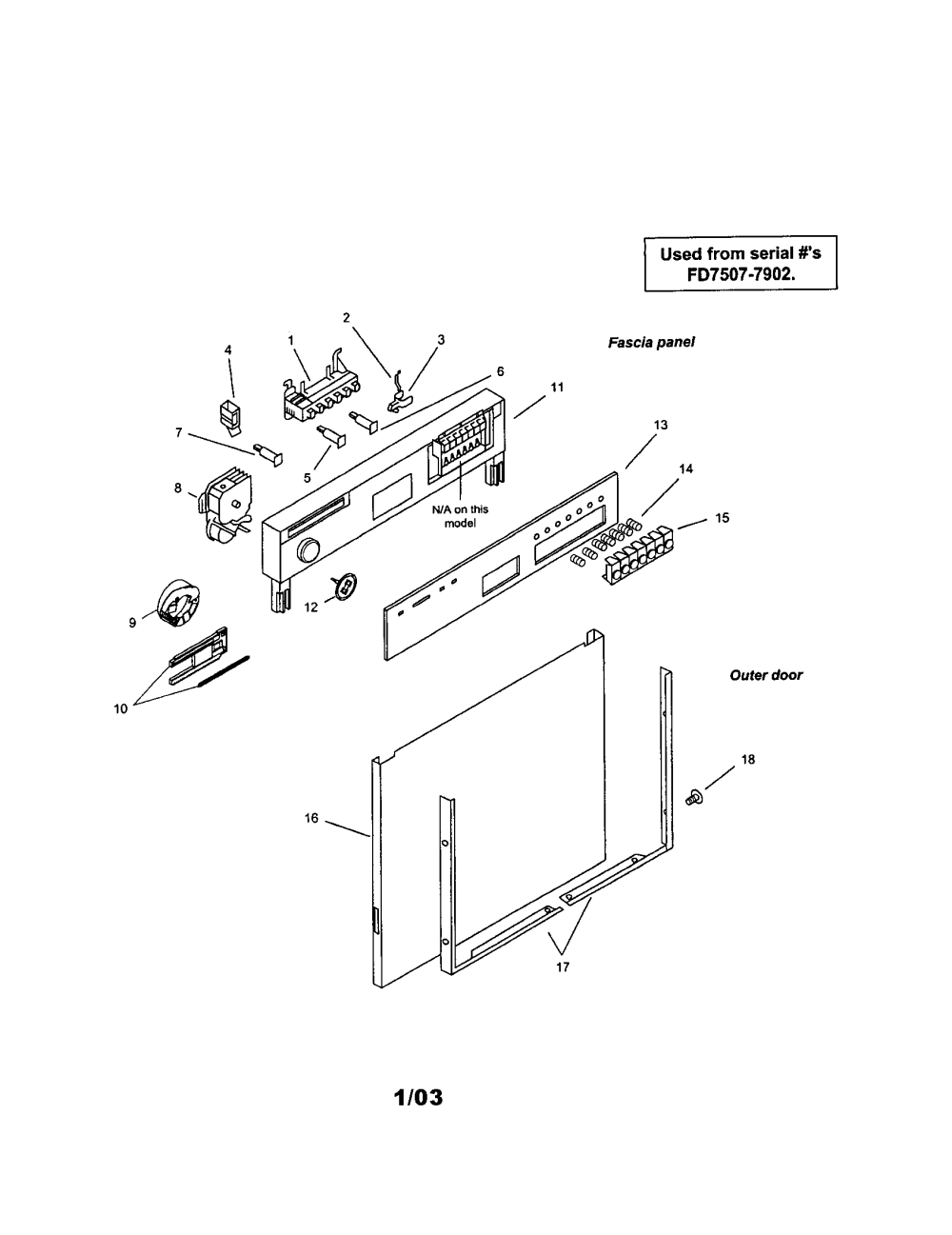 medium resolution of smu7052uc14 dishwasher fascia panel and outer door parts diagram