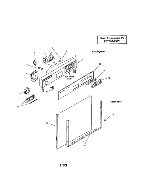 small resolution of smu7052uc14 dishwasher fascia panel and outer door parts diagram