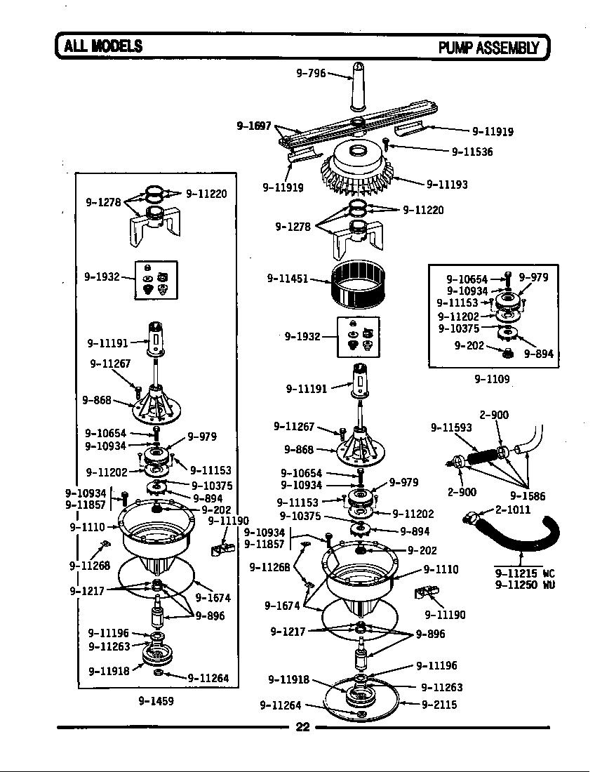 wu482 dishwasher tub support right base frame motor parts diagram