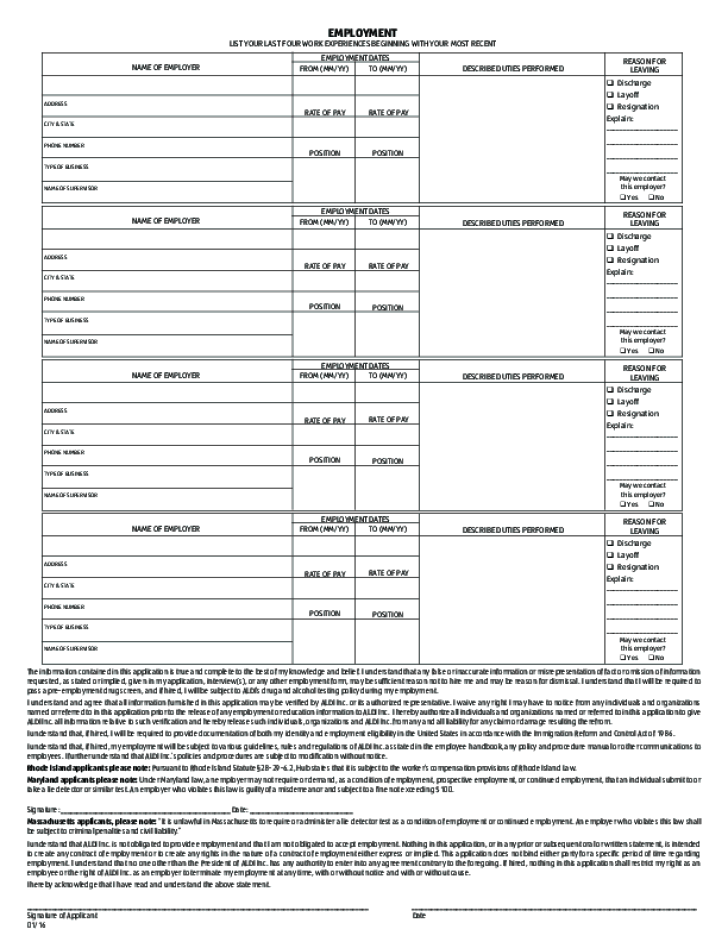 Free Printable ALDI Job Application Form Page 2