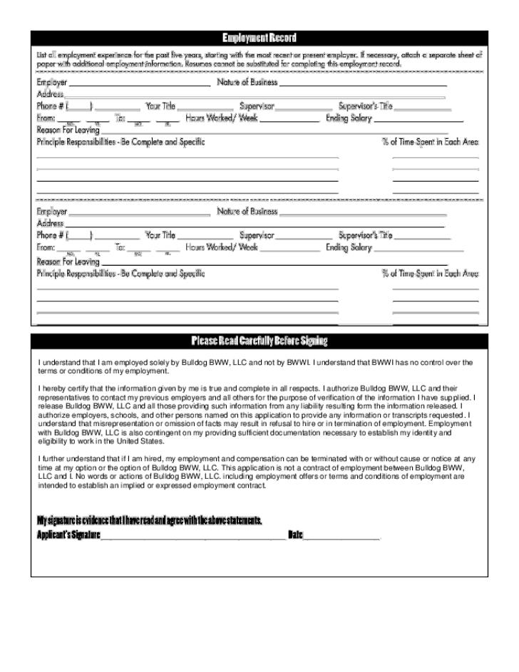 Free Printable Buffalo Wild Wings Job Application Form Page 2