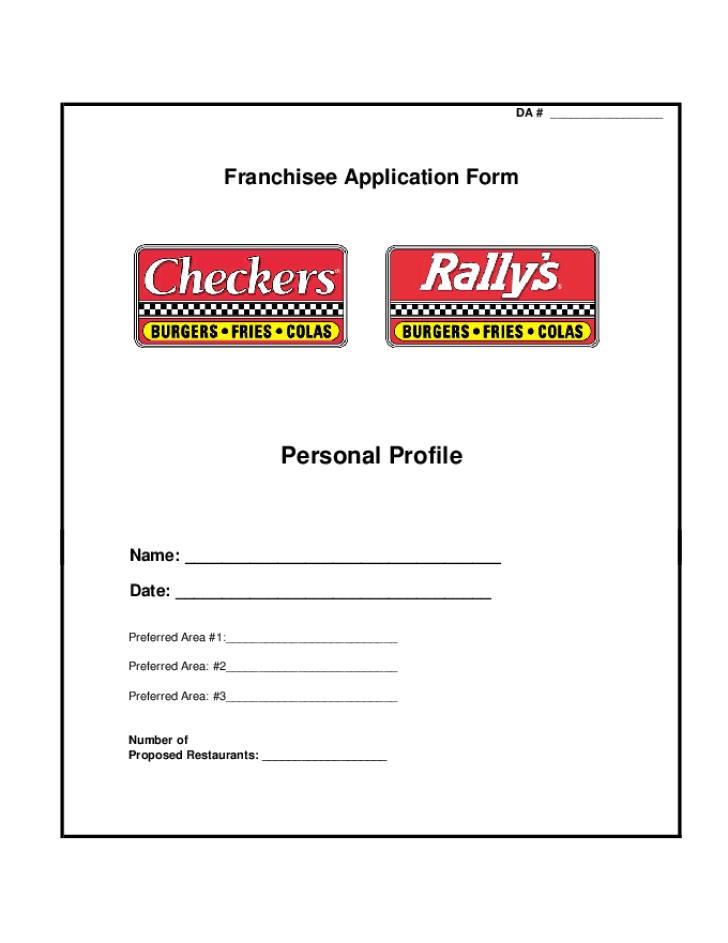 Free Printable Checkers DriveIn Job Application Form