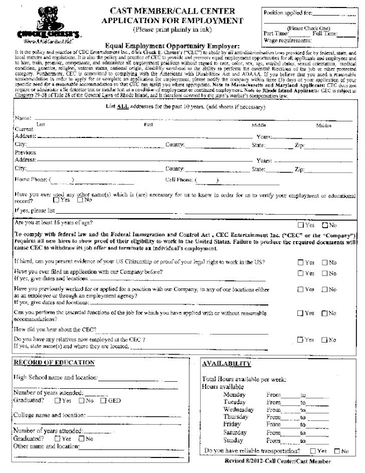 Free Printable Chuck E Cheeses Job Application Form