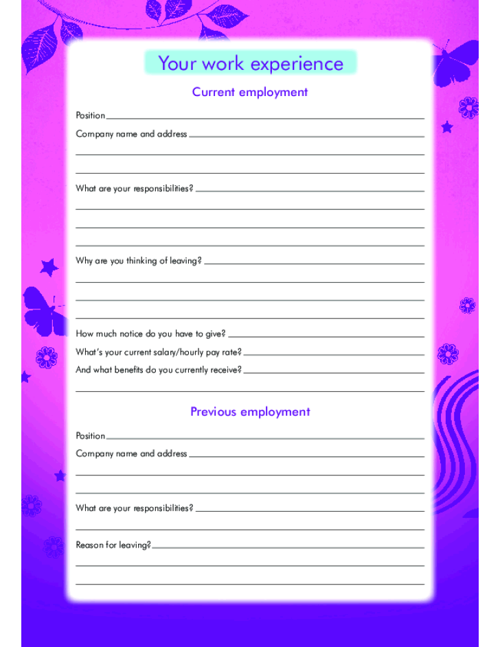 Free Printable Claire's Job Application Form Page 4
