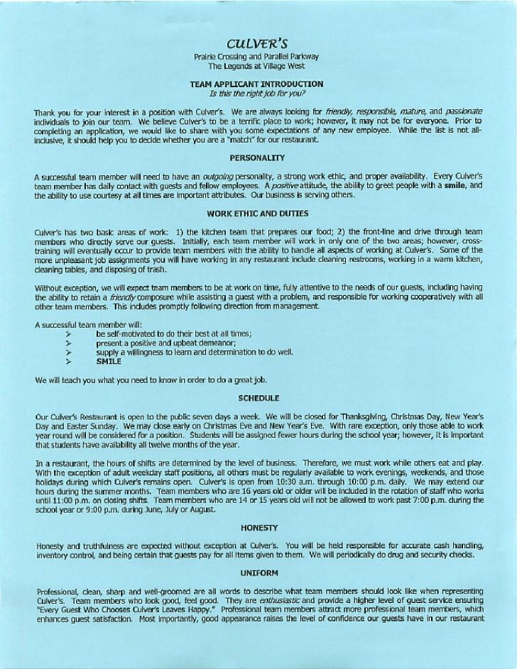 Free Printable Culvers Job Application Form
