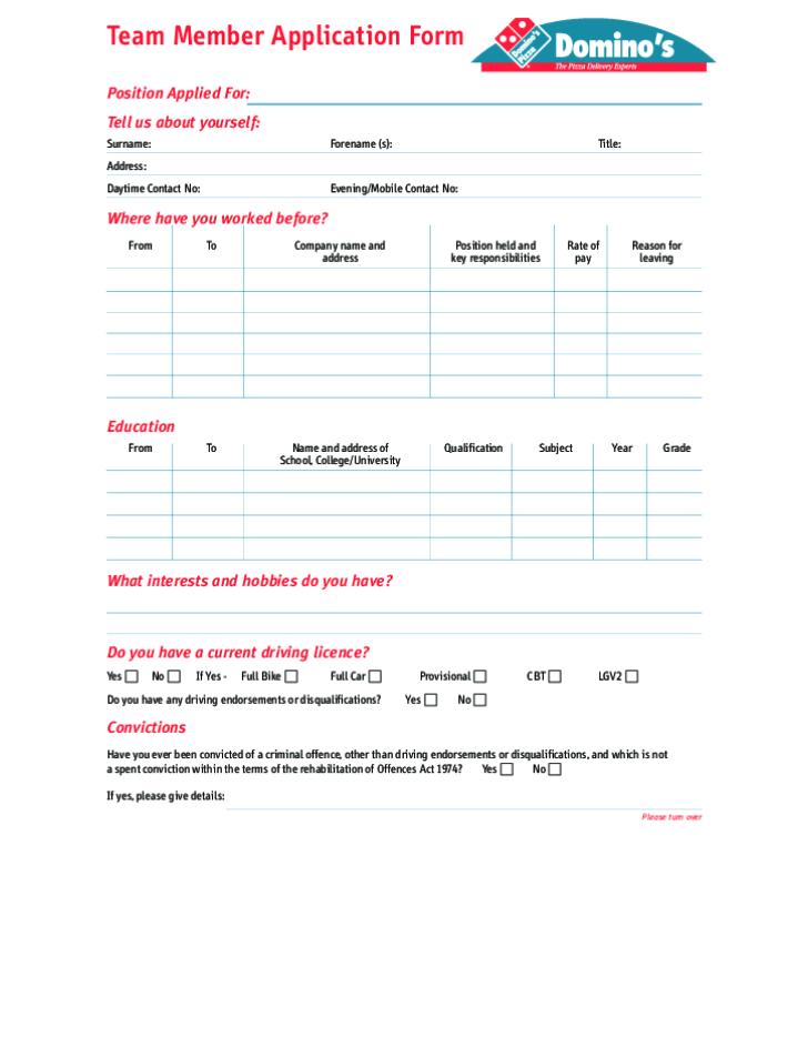 Free Printable Dominos Job Application Form