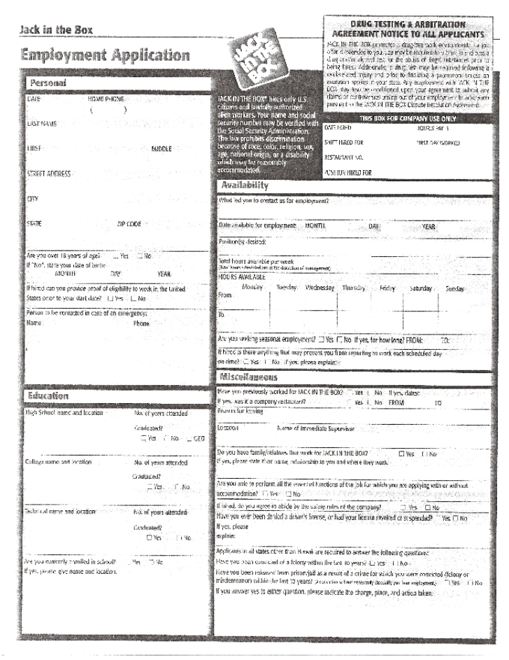 Free Printable Jack In The Box Job Application Form