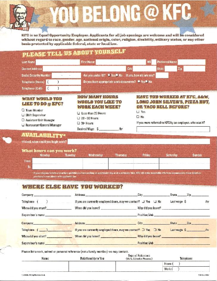 Free Printable KFC Job Application Form