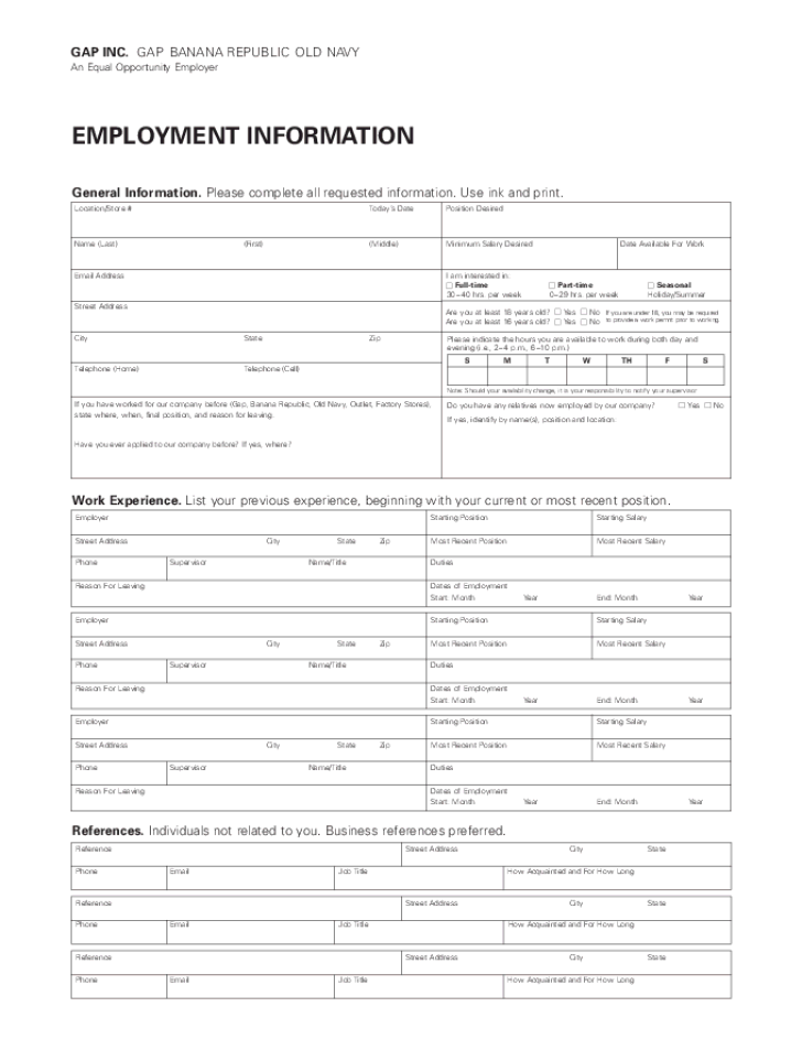 Free Printable Old Navy Job Application Form
