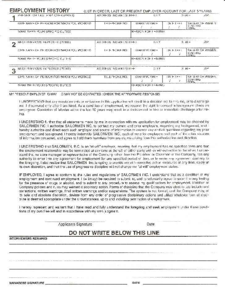 Free Printable Popeyes Job Application Form Page 2