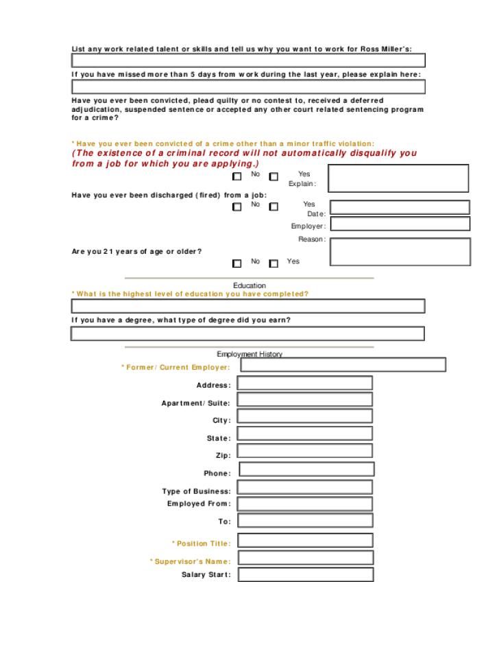 Free Printable Ross Job Application Form Page 2