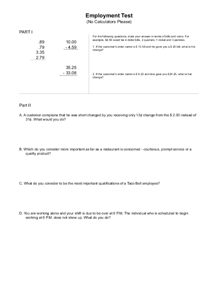 Free Printable Taco Bell Job Application Form Page 4