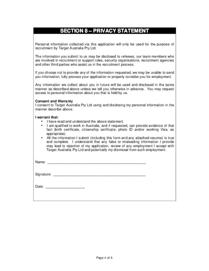 Target Employee Application Printable