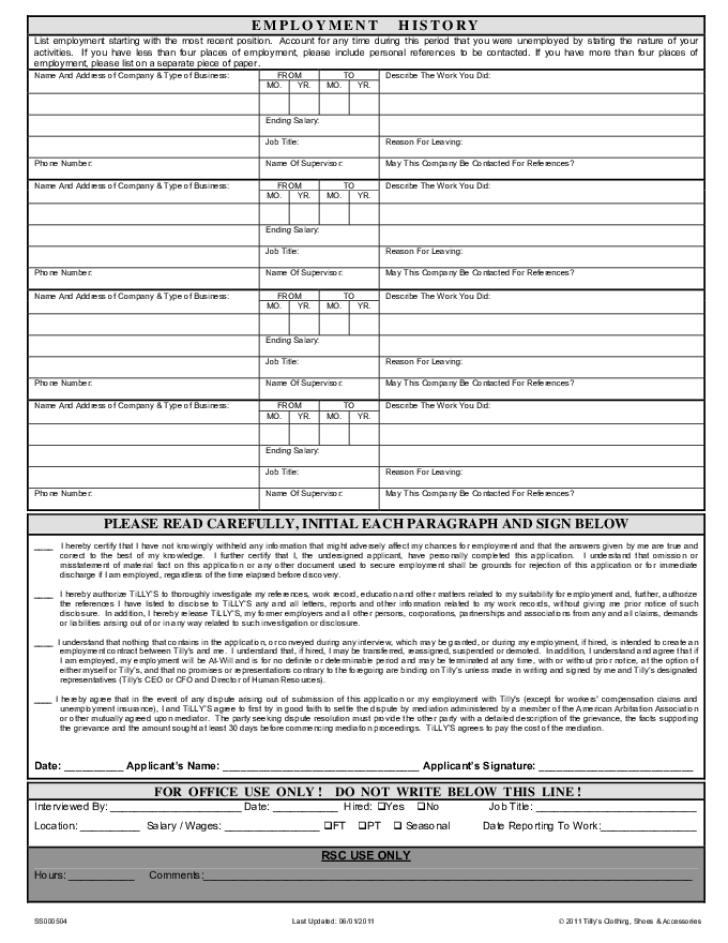 Free Printable Tillys Job Application Form Page 2