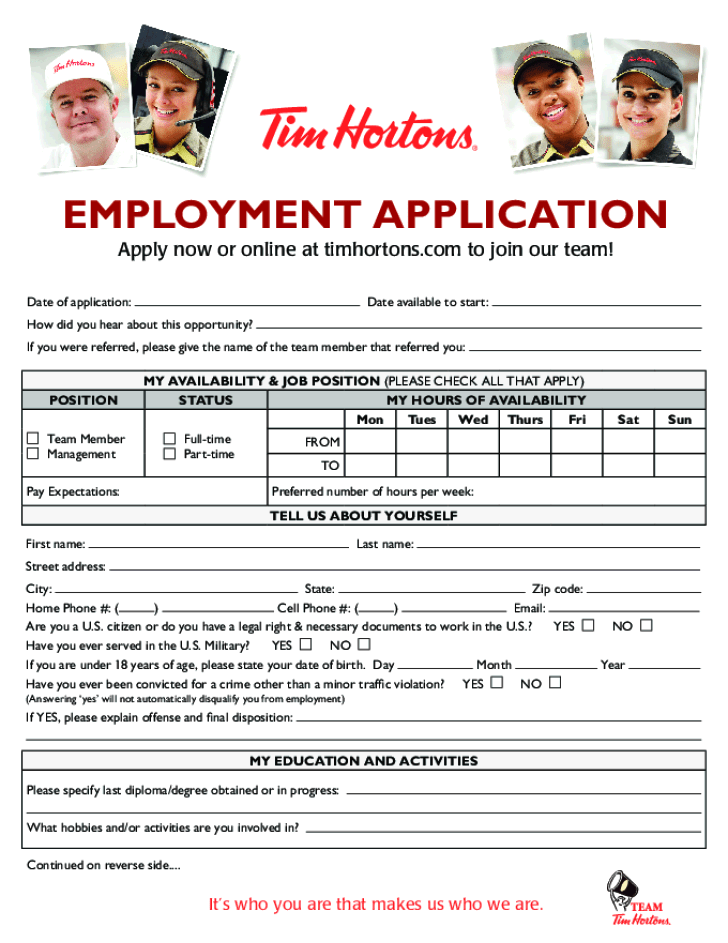 Employment Application Form Tim Hortons Cover Letter And