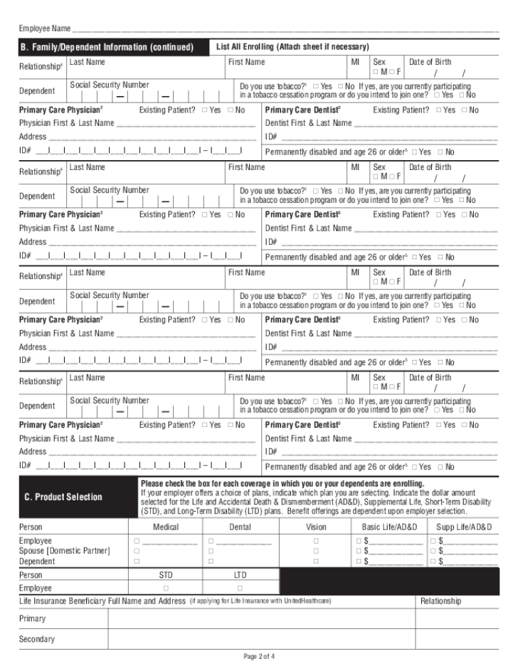 Free Printable UnitedHealthcare Job Application Form Page 2