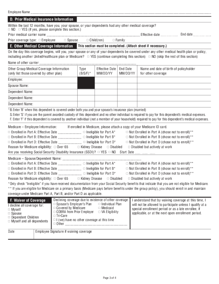 Free Printable UnitedHealthcare Job Application Form Page 3