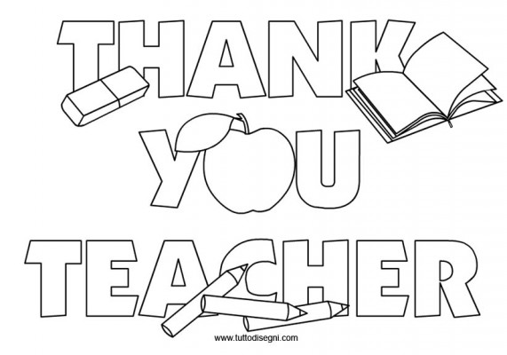 Thank You Teacher scritta da colorare  TuttoDisegnicom