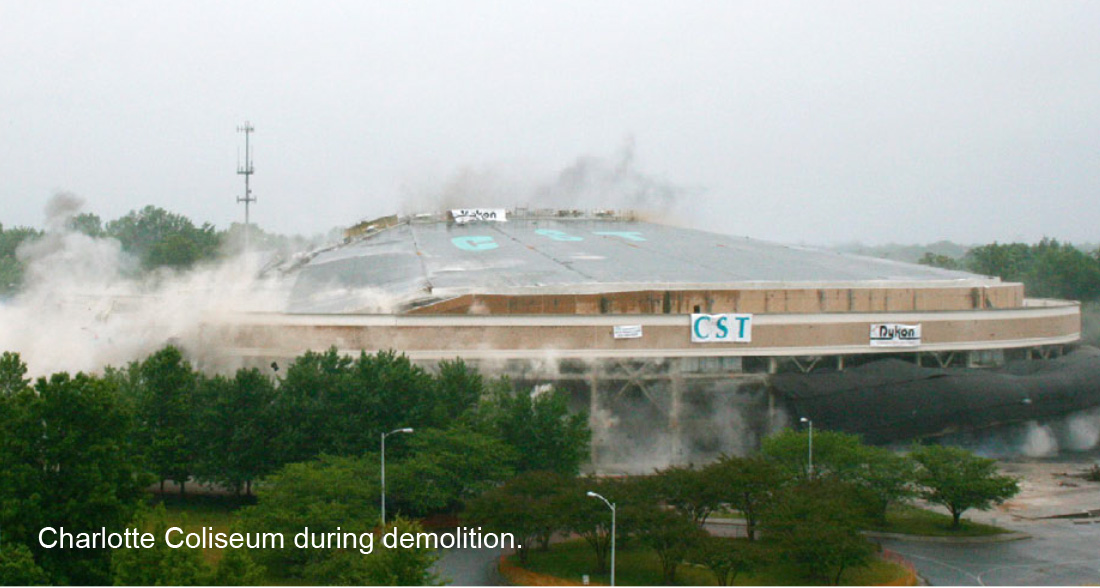 Image result for charlotte coliseum demolition