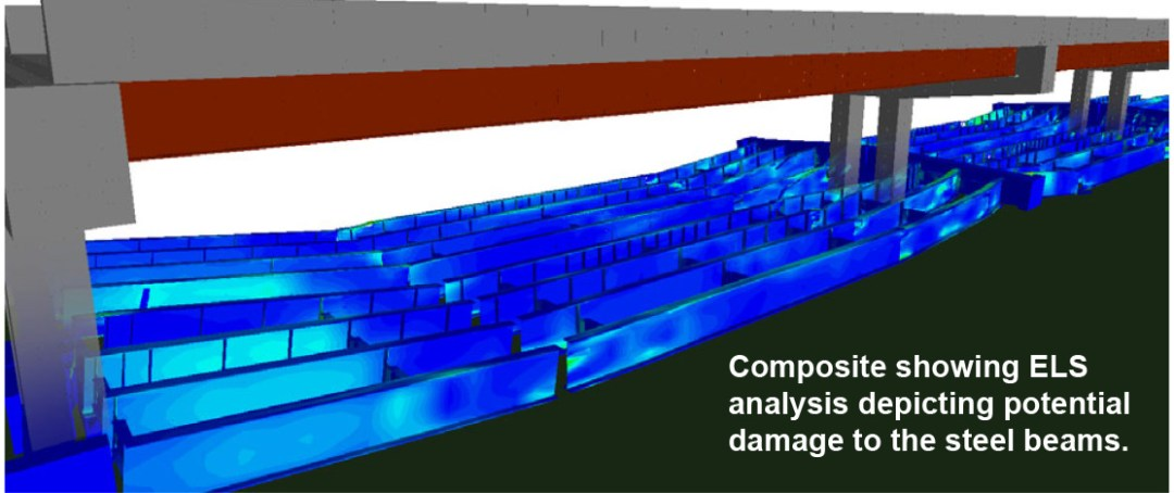 Demolition Engineering - Composite showing ELS analysis depicting potential damage to the steel beams - Applied Science International