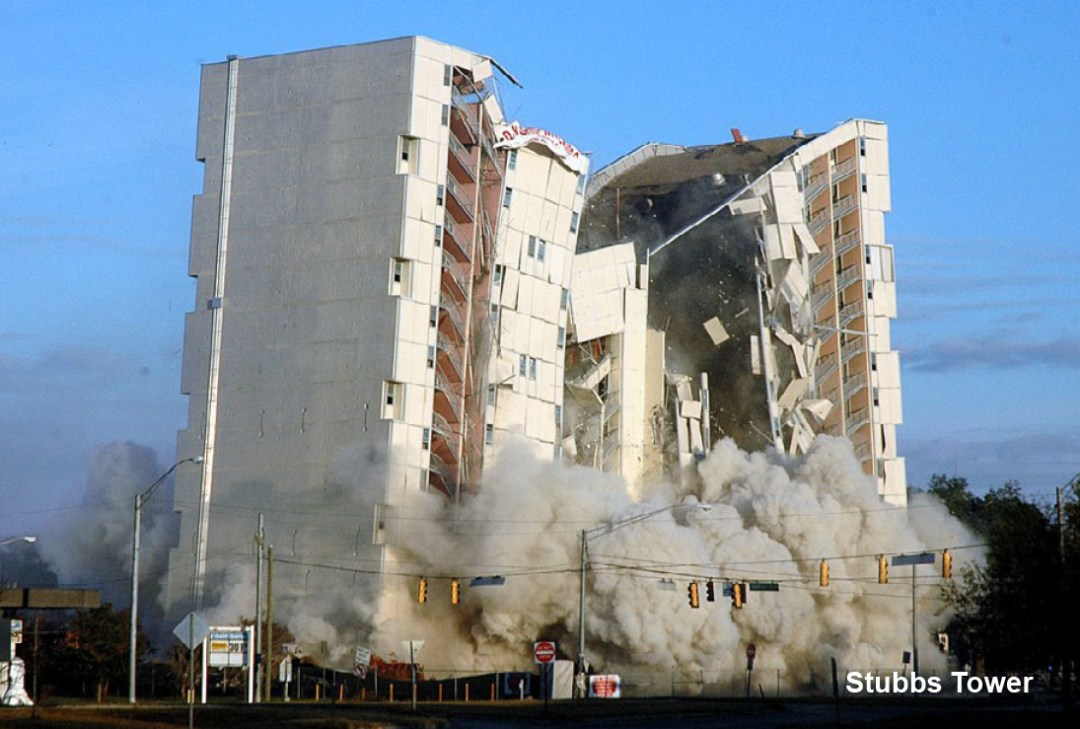 Commercial Demolition - Stubbs Tower Implosion - Applied Science International