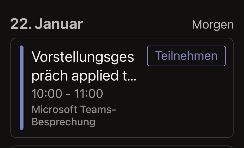 Teilnehmen an einer Teams Besprechung - iOS Kalender