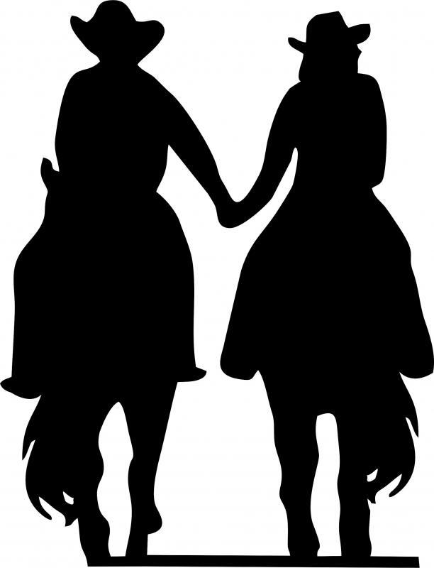 western couple silhouette laser