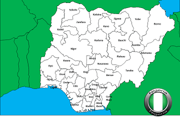 map of Nigeria with States