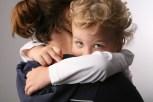 toddler hugging mom