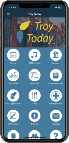 Sample screenshot of Troy Today mobile app